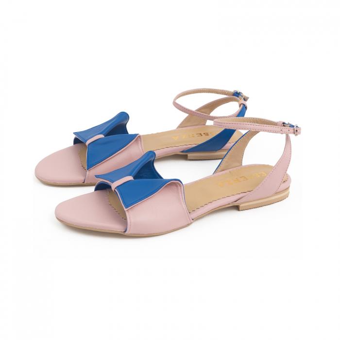 Sandale cu talpă joasă, din piele naturala roz si albastra 1