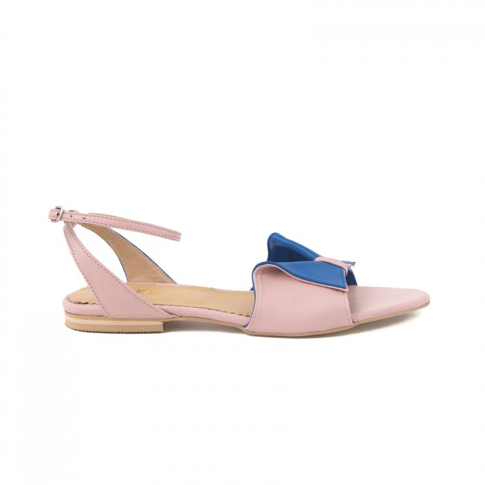 Sandale cu talpă joasă, din piele naturala roz si albastra 0
