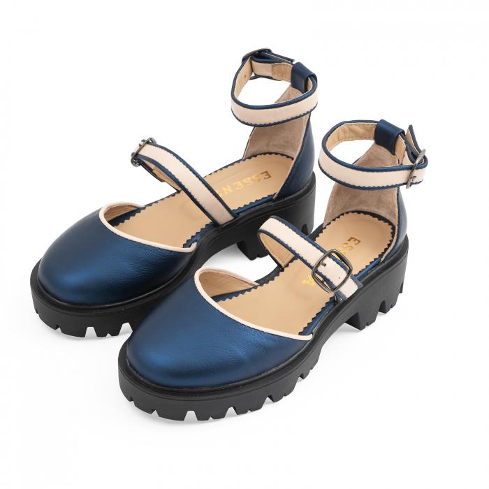Sandale cu talpa groasa, din piele naturala nude rose si albastru laminat 1