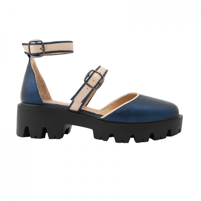 Sandale cu talpa groasa, din piele naturala nude rose si albastru laminat 0