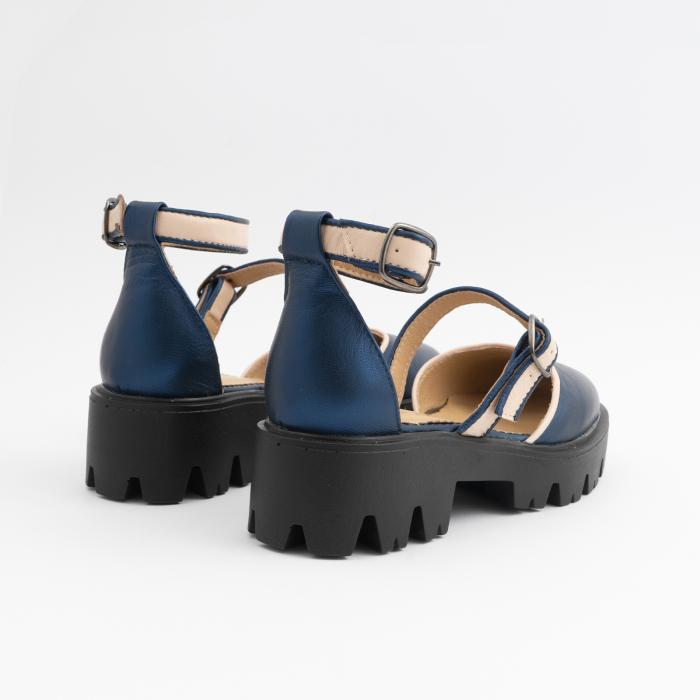 Sandale cu talpa groasa, din piele naturala nude rose si albastru laminat 7