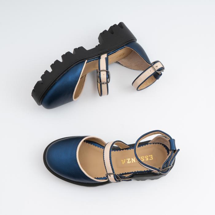 Sandale cu talpa groasa, din piele naturala nude rose si albastru laminat 6