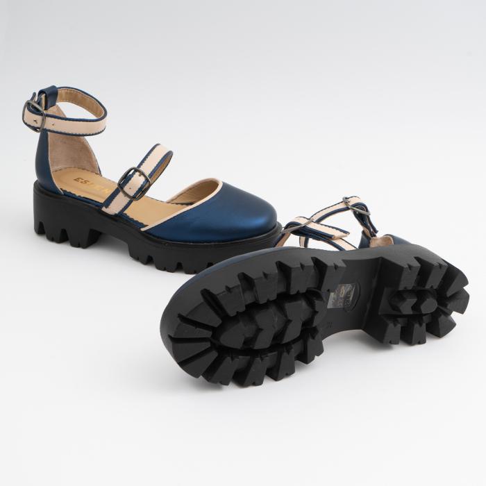 Sandale cu talpa groasa, din piele naturala nude rose si albastru laminat 4