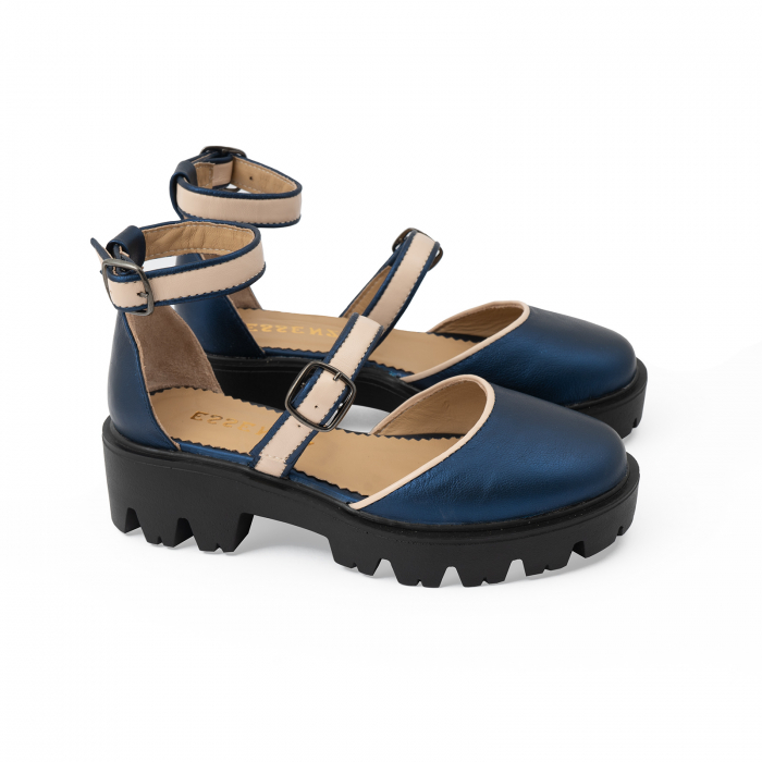 Sandale cu talpa groasa, din piele naturala nude rose si albastru laminat 2