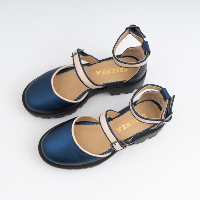 Sandale cu talpa groasa, din piele naturala nude rose si albastru laminat 3