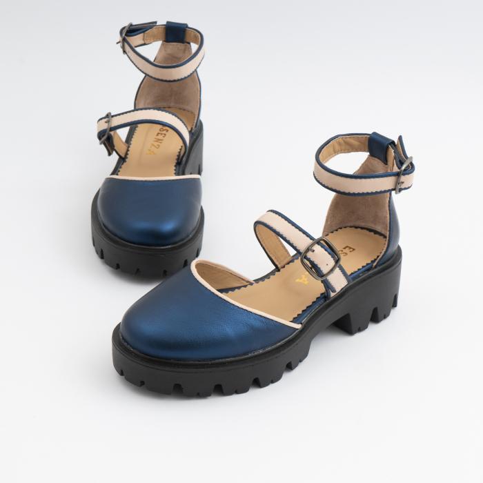 Sandale cu talpa groasa, din piele naturala nude rose si albastru laminat 5