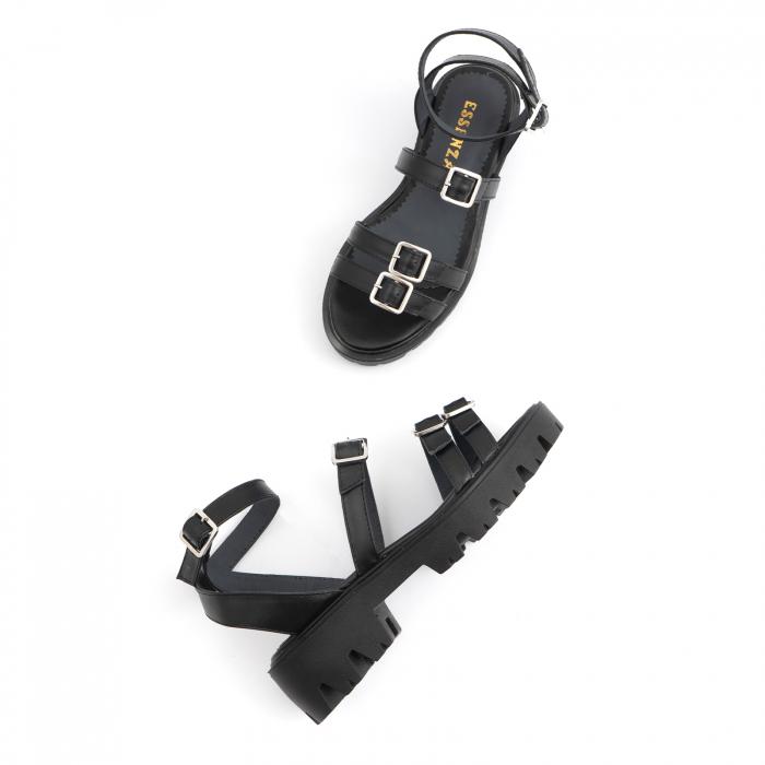 Sandale cu talpa groasa si barete cu catarame, din piele naturala neagra. 2