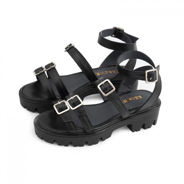 Sandale cu talpa groasa si barete cu catarame, din piele naturala neagra. 1
