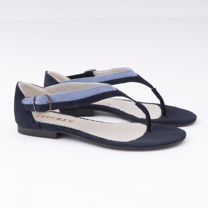 Sandale cu talpa joasa, cu bareta intre degete, din piele intoarsa albastru inchis si albastru deschis 2