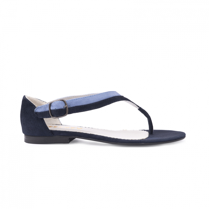 Sandale cu talpa joasa, cu bareta intre degete, din piele intoarsa albastru inchis si albastru deschis 0