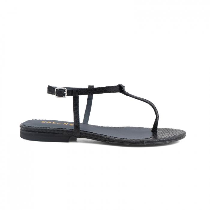 Sandale cu talpa joasa, cu bareta intre degete, din piele naturala neagra cu textura de sarpe [0]