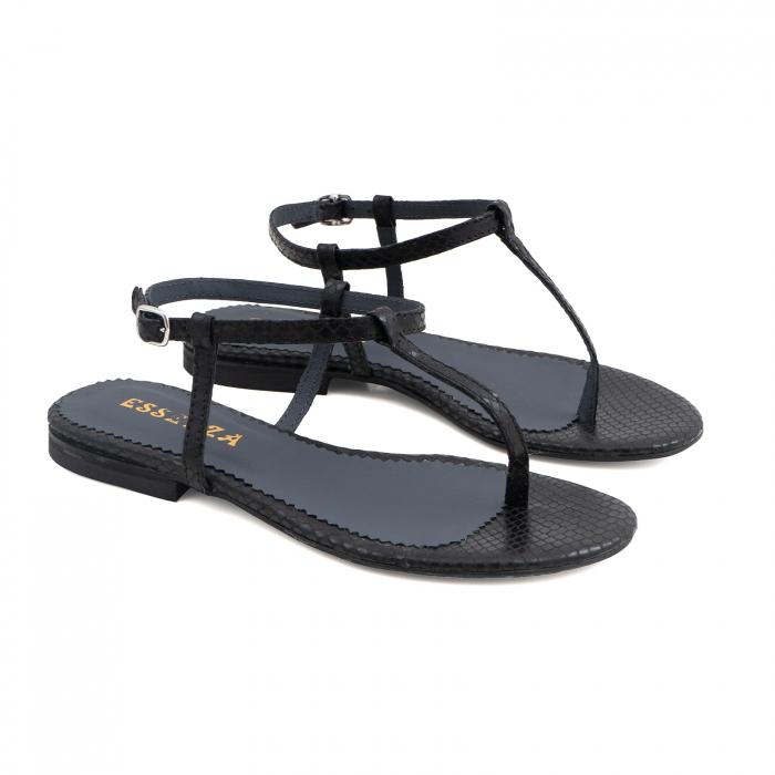 Sandale cu talpa joasa, cu bareta intre degete, din piele naturala neagra cu textura de sarpe [1]