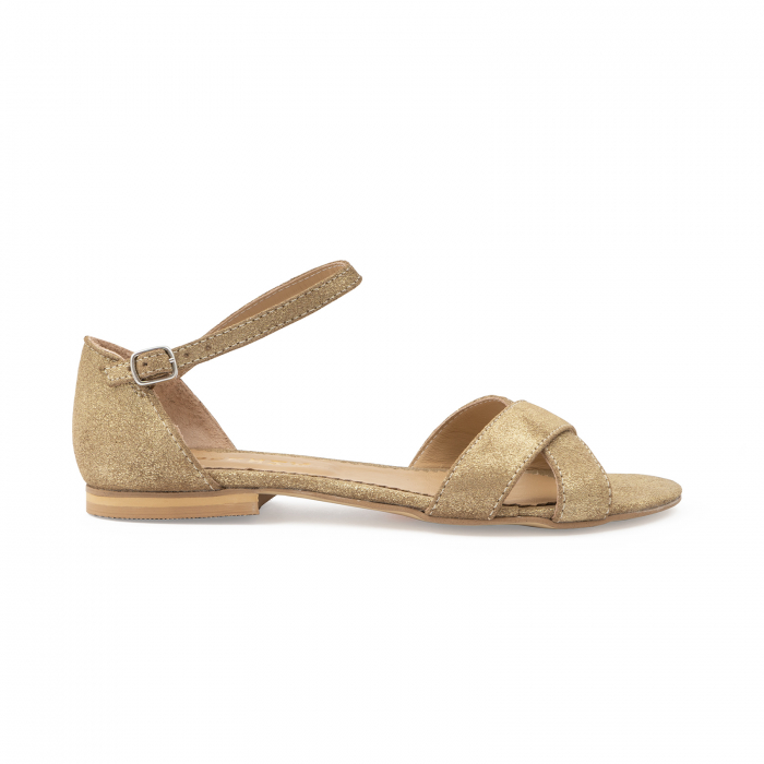 Sandale cu talpa joasa, cu barete suprapuse, din piele naturala auriu glitter. 0