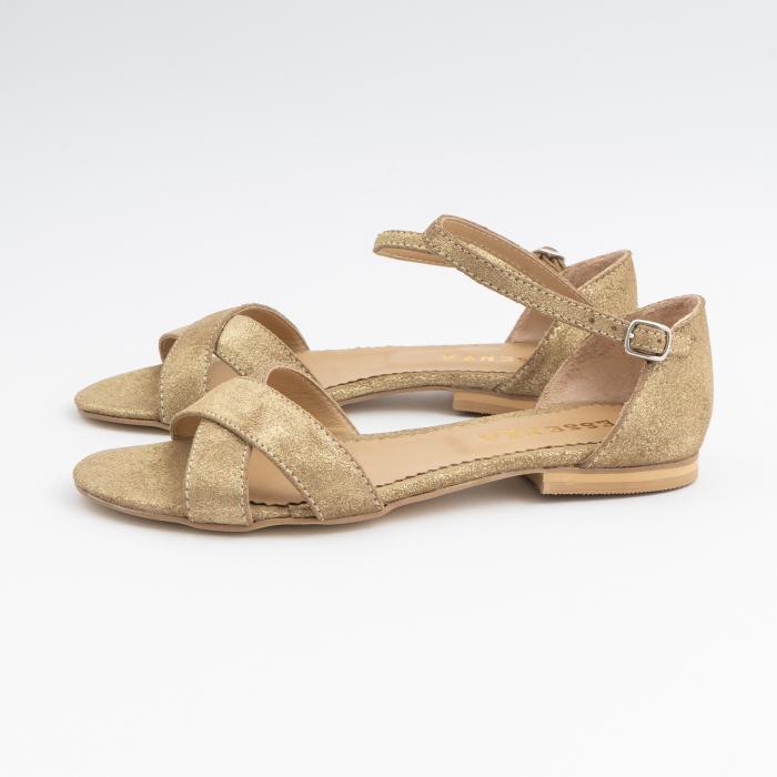 Sandale cu talpa joasa, cu barete suprapuse, din piele naturala auriu glitter. 1