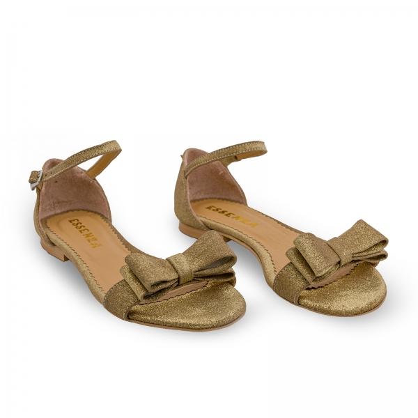 Sandale cu talpa joasa, din piele aurie glitter, cu fundite 1