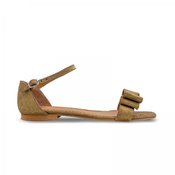 Sandale cu talpa joasa, din piele aurie glitter, cu fundite 0