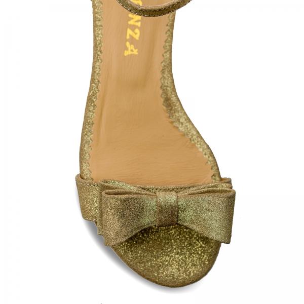 Sandale cu talpa joasa, din piele aurie glitter, cu fundite 3