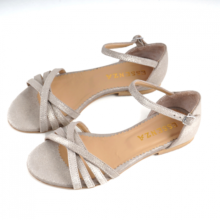 Sandale cu talpa joasa, din piele aurie si piele auriu pal glitter 2