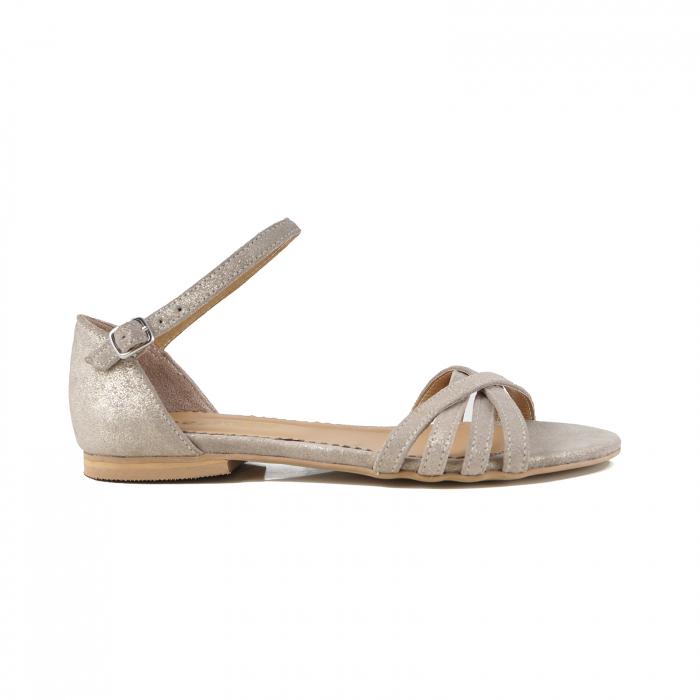 Sandale cu talpa joasa, din piele aurie si piele auriu pal glitter 0