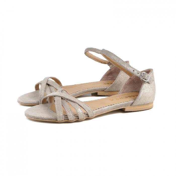 Sandale cu talpa joasa, din piele aurie si piele auriu pal glitter 1