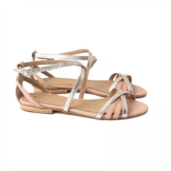 Sandale cu talpa joasa, din piele aurie si piele roze cu textura piton [1]