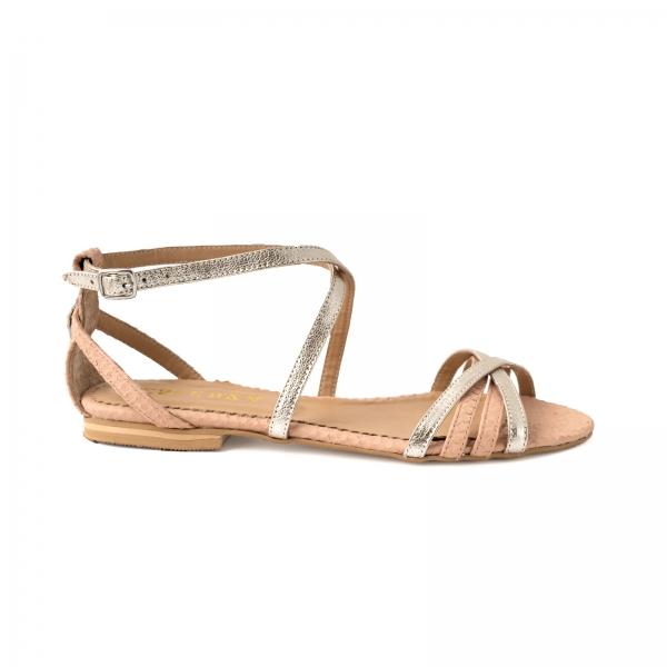 Sandale cu talpa joasa, din piele aurie si piele roze cu textura piton [0]