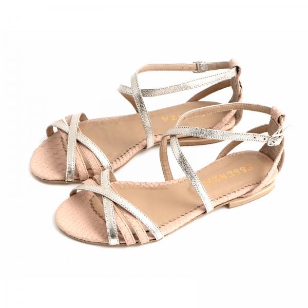 Sandale cu talpa joasa, din piele aurie si piele roze cu textura piton [2]