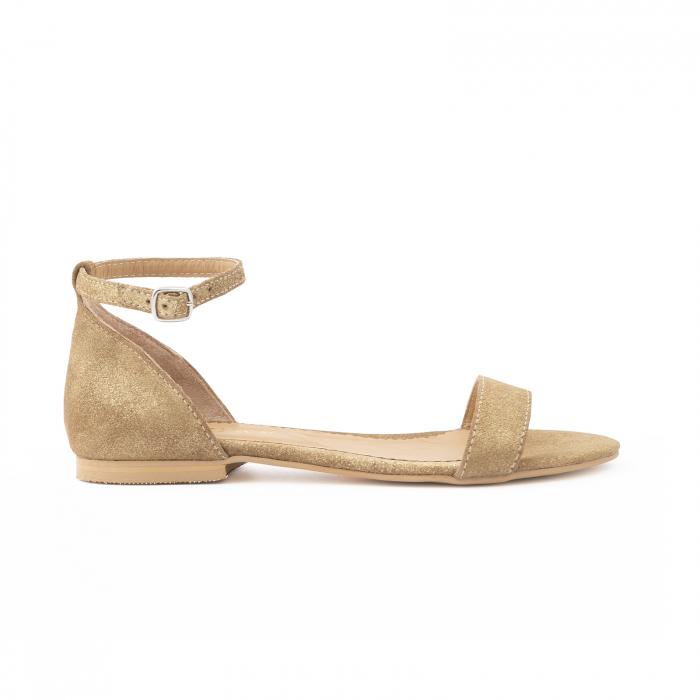 Sandale cu talpa joasa, din piele glitter aurie. 0