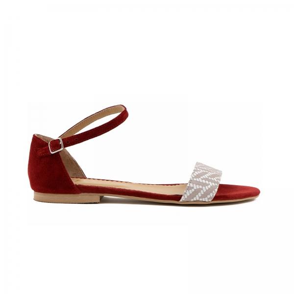 Sandale cu talpa joasa, din piele intoarsa burgundy si piele alb/beige 0