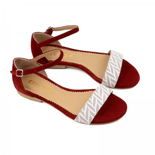 Sandale cu talpa joasa, din piele intoarsa burgundy si piele alb/beige 1