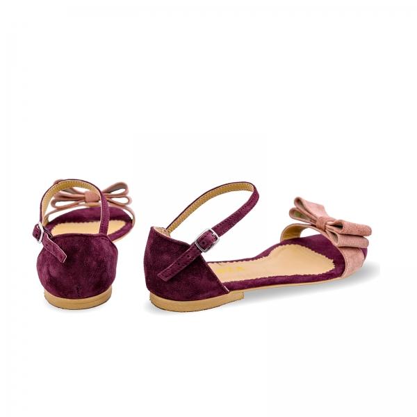 Sandale cu talpa joasa, din piele intoarsa mov, cu fundite roz somon 2