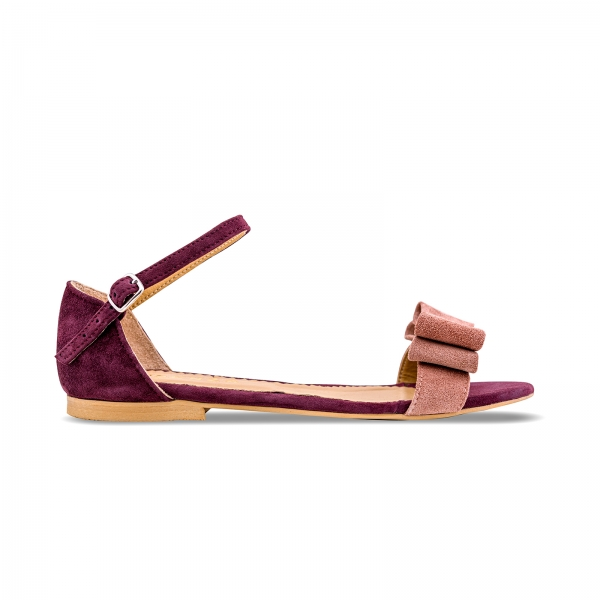 Sandale cu talpa joasa, din piele intoarsa mov, cu fundite roz somon 0