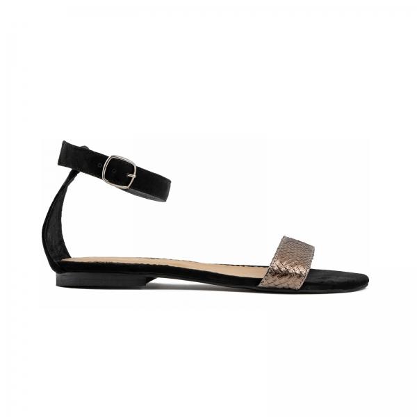 Sandale cu talpa joasa, din piele intoarsa neagra si piele laminata bronz texturat 0