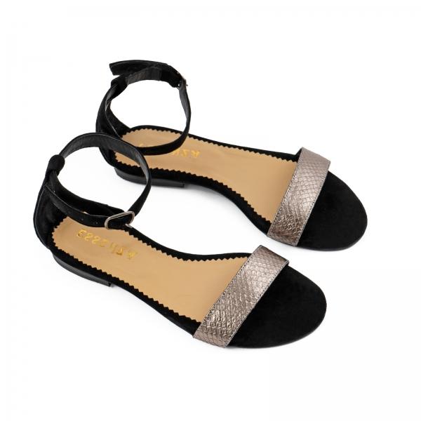 Sandale cu talpa joasa, din piele intoarsa neagra si piele laminata bronz texturat 2