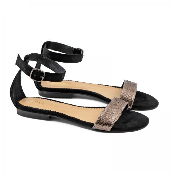 Sandale cu talpa joasa, din piele intoarsa neagra si piele laminata bronz texturat 1