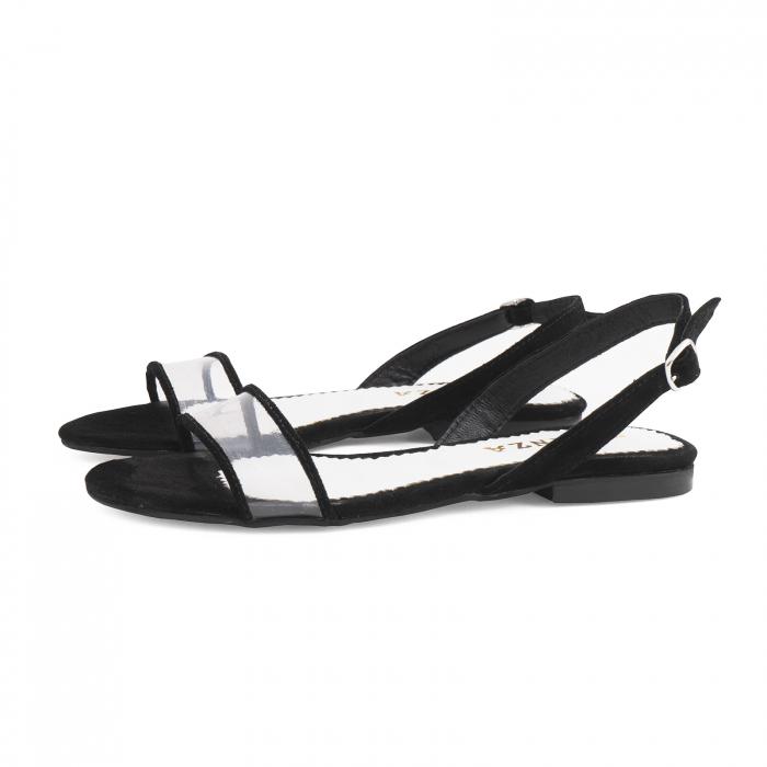 Sandale cu talpa joasa, din piele intoarsa neagra si plastic transparent 1