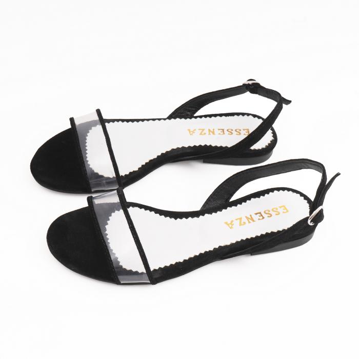 Sandale cu talpa joasa, din piele intoarsa neagra si plastic transparent 2