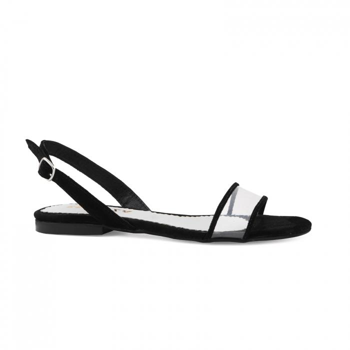 Sandale cu talpa joasa, din piele intoarsa neagra si plastic transparent 0