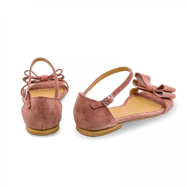 Sandale cu talpa joasa, din piele intoarsa roz somon, cu fundite [1]