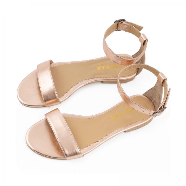Sandale cu talpa joasa , din piele laminata auriu-roze 2