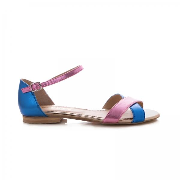 Sandale cu talpa joasa , din piele laminata roz ciclam si albastru electric 0