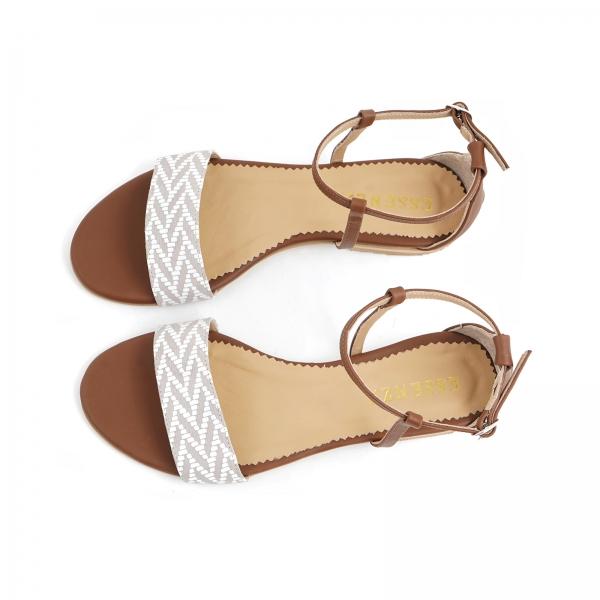 Sandale cu talpa joasa, din piele maron si piele alb/beige 3
