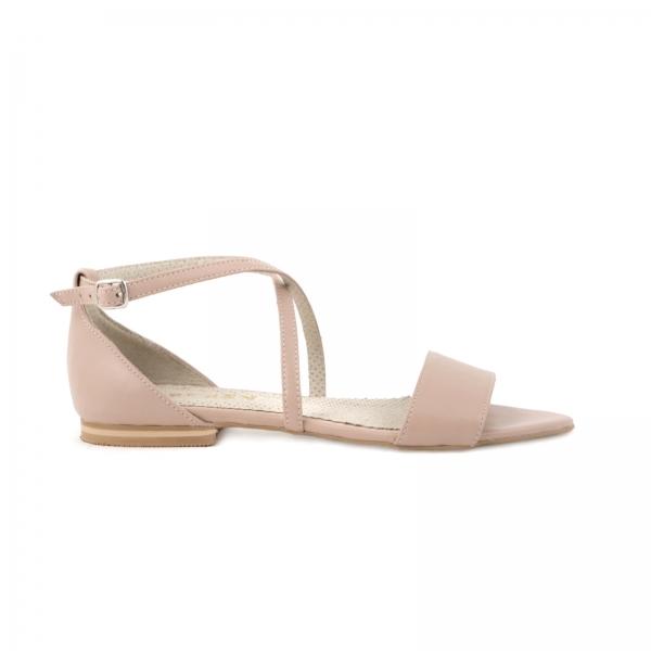 Sandale cu talpa joasa, din piele naturala nude roze 0