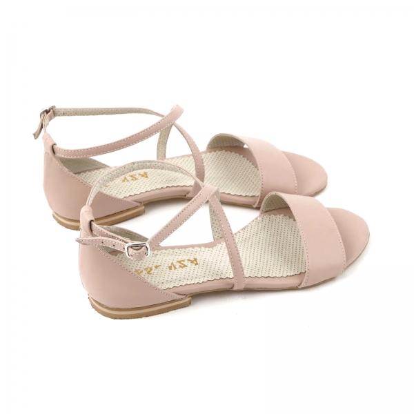Sandale cu talpa joasa, din piele naturala nude roze 4