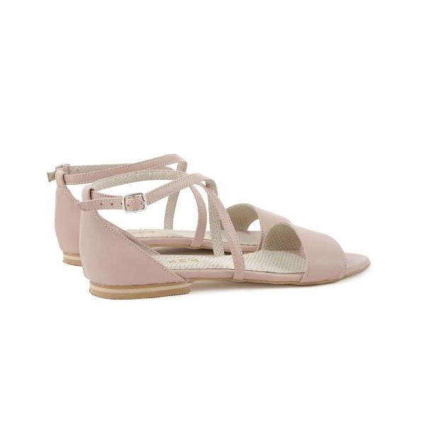 Sandale cu talpa joasa, din piele naturala nude roze 3