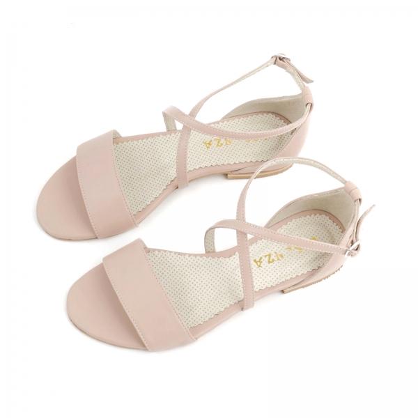 Sandale cu talpa joasa, din piele naturala nude roze 2