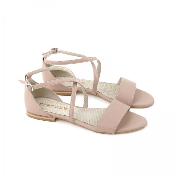 Sandale cu talpa joasa, din piele naturala nude roze 1