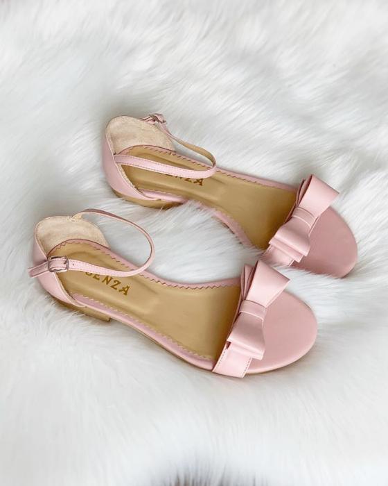 Sandale cu talpa joasa, din piele nappa roz, cu fundite [0]