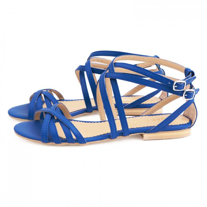 Sandale cu talpa joasa, din piele naturala, albastru intens 1