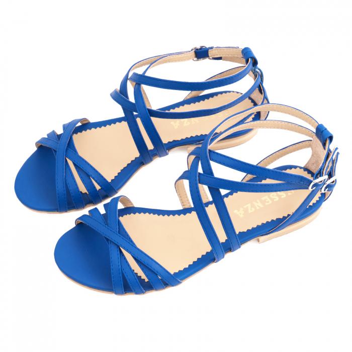 Sandale cu talpa joasa, din piele naturala, albastru intens 2